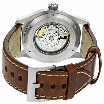 Back casing view of Hamilton Mens H70555533 Khaki Field Black Dial Watch