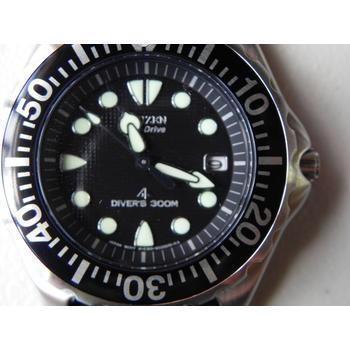 Close up view of Citizen Men's BN0000-04H Eco-Drive Professional Diver Watch